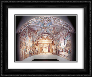 Overall view of the Tabernacle of the Madonna delle Tosse 24x20 Black or Gold Ornate Framed and Double Matted Art Print by Benozzo Gozzoli
