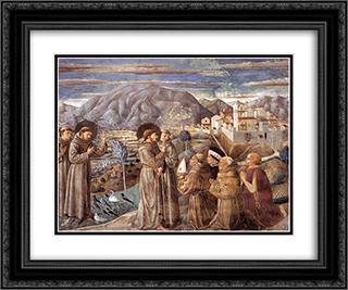 Preaching to the Birds and Blessing Montefalco 24x20 Black or Gold Ornate Framed and Double Matted Art Print by Benozzo Gozzoli