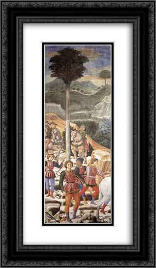 Procession of the Magi (detail) 14x24 Black or Gold Ornate Framed and Double Matted Art Print by Benozzo Gozzoli