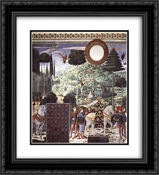 Procession of the Magus Melchior (detail) 20x22 Black or Gold Ornate Framed and Double Matted Art Print by Benozzo Gozzoli
