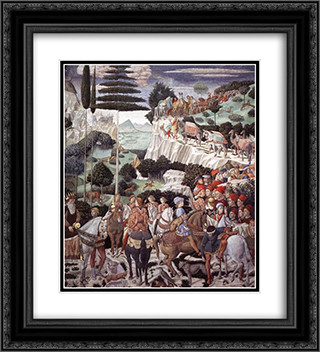 Procession of the Oldest King 20x22 Black or Gold Ornate Framed and Double Matted Art Print by Benozzo Gozzoli