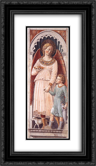 Raphael and Tobias 14x24 Black or Gold Ornate Framed and Double Matted Art Print by Benozzo Gozzoli