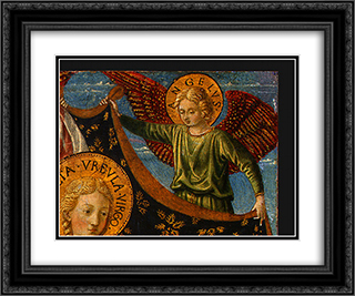 Saint Ursula with Angels and Donor (detail) 24x20 Black or Gold Ornate Framed and Double Matted Art Print by Benozzo Gozzoli