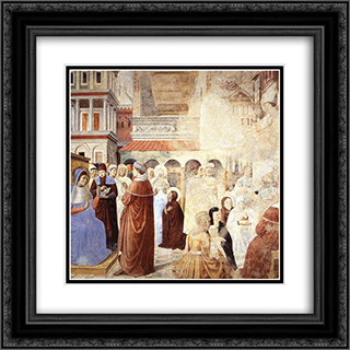 Scenes with St. Ambrose 20x20 Black or Gold Ornate Framed and Double Matted Art Print by Benozzo Gozzoli