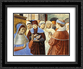 Scenes with St. Ambrose (detail) 24x20 Black or Gold Ornate Framed and Double Matted Art Print by Benozzo Gozzoli