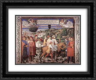 St. Augustine Departing for Milan 24x20 Black or Gold Ornate Framed and Double Matted Art Print by Benozzo Gozzoli