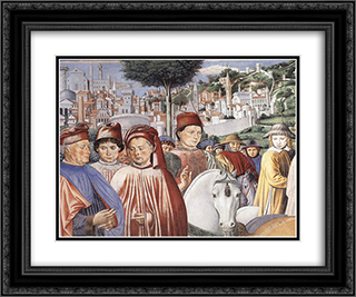 St. Augustine Departing for Milan (detail) 24x20 Black or Gold Ornate Framed and Double Matted Art Print by Benozzo Gozzoli