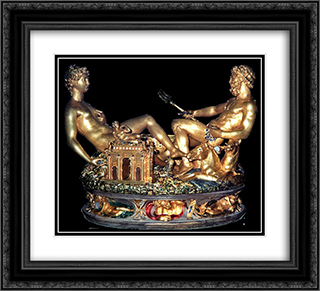 Cellini Salt Cellar 22x20 Black or Gold Ornate Framed and Double Matted Art Print by Benvenuto Cellini