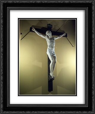 Crucifix 20x24 Black or Gold Ornate Framed and Double Matted Art Print by Benvenuto Cellini