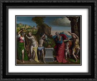 A Pagan Sacrifice 24x20 Black or Gold Ornate Framed and Double Matted Art Print by Benvenuto Tisi
