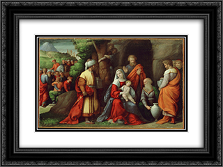 Adoration of the Magi 24x18 Black or Gold Ornate Framed and Double Matted Art Print by Benvenuto Tisi