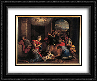Adoration of the Sheperds 24x20 Black or Gold Ornate Framed and Double Matted Art Print by Benvenuto Tisi
