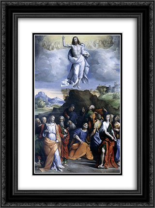 Ascension of Christ 18x24 Black or Gold Ornate Framed and Double Matted Art Print by Benvenuto Tisi