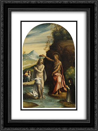 Baptism of Christ 18x24 Black or Gold Ornate Framed and Double Matted Art Print by Benvenuto Tisi