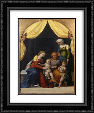 Holy Family with the Infant Saint John and Saint Elizabeth 20x24 Black or Gold Ornate Framed and Double Matted Art Print by Benvenuto Tisi