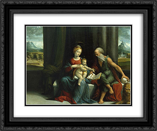 Madonna and Child and St Jerome 24x20 Black or Gold Ornate Framed and Double Matted Art Print by Benvenuto Tisi
