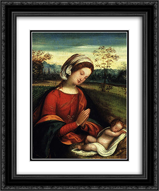 Madonna con bambino 20x24 Black or Gold Ornate Framed and Double Matted Art Print by Benvenuto Tisi