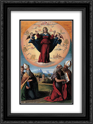 Madonna in Glory and Holy Hones 18x24 Black or Gold Ornate Framed and Double Matted Art Print by Benvenuto Tisi