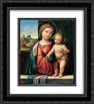 Madonna with the Child 20x22 Black or Gold Ornate Framed and Double Matted Art Print by Benvenuto Tisi