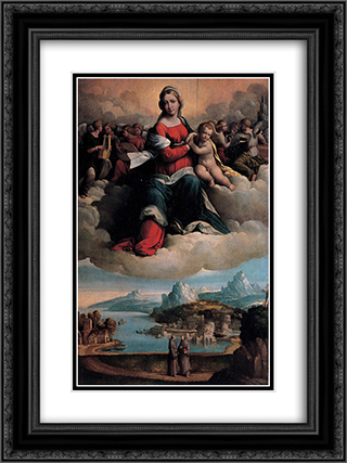 Madonna with the Child in Glory and Holy Ones 18x24 Black or Gold Ornate Framed and Double Matted Art Print by Benvenuto Tisi