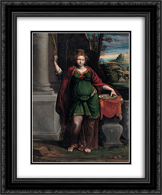 Saint Lucy 20x24 Black or Gold Ornate Framed and Double Matted Art Print by Benvenuto Tisi