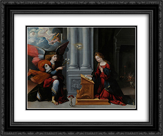 The Annunciation 24x20 Black or Gold Ornate Framed and Double Matted Art Print by Benvenuto Tisi