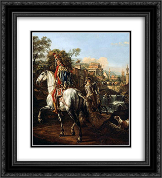 A Hussar on horseback 20x22 Black or Gold Ornate Framed and Double Matted Art Print by Bernardo Bellotto