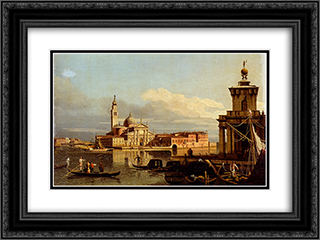 A View In Venice From The Punta Della Dogana Towards San-Giorgio Maggiore 24x18 Black or Gold Ornate Framed and Double Matted Art Print by Bernardo Bellotto