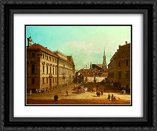 A view of the Lobkowicz Palace in Vienna 24x20 Black or Gold Ornate Framed and Double Matted Art Print by Bernardo Bellotto