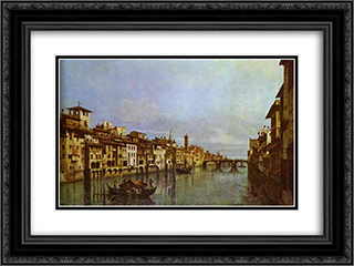 Arno in Florence 24x18 Black or Gold Ornate Framed and Double Matted Art Print by Bernardo Bellotto