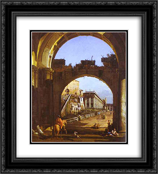Capriccio of the Capitol 20x22 Black or Gold Ornate Framed and Double Matted Art Print by Bernardo Bellotto