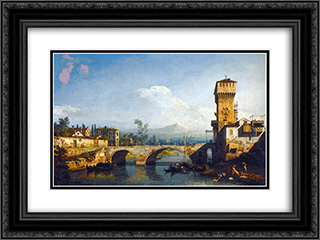 Capriccio Padovano 24x18 Black or Gold Ornate Framed and Double Matted Art Print by Bernardo Bellotto