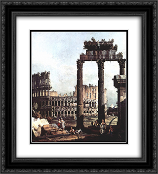 Capriccio with the Colosseum 20x22 Black or Gold Ornate Framed and Double Matted Art Print by Bernardo Bellotto