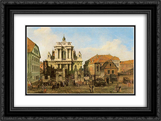 Carmelite Church in Warsaw 24x18 Black or Gold Ornate Framed and Double Matted Art Print by Bernardo Bellotto