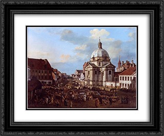 Church of the Holy Sacrament in the New Town 24x20 Black or Gold Ornate Framed and Double Matted Art Print by Bernardo Bellotto