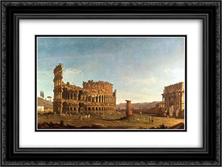 Colosseum and Arch of Constantine (Rome) 24x18 Black or Gold Ornate Framed and Double Matted Art Print by Bernardo Bellotto