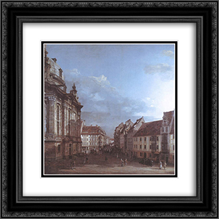 Dresden, the Frauenkirche and the Rampische Gasse 20x20 Black or Gold Ornate Framed and Double Matted Art Print by Bernardo Bellotto