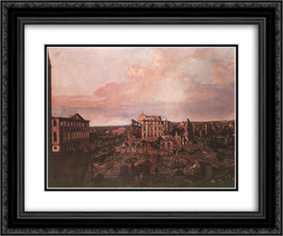 Dresden, the Ruins of the Pirnaische Vorstadt 24x20 Black or Gold Ornate Framed and Double Matted Art Print by Bernardo Bellotto