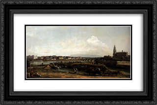 Dresden from the Left Bank of the Elbe, Below the Fortification 24x16 Black or Gold Ornate Framed and Double Matted Art Print by Bernardo Bellotto