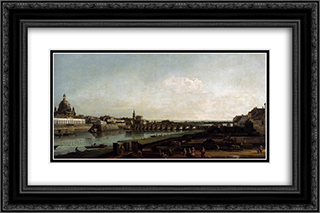 Dresden from the Right Bank of the Elbe, above the Augustusbrucke 24x16 Black or Gold Ornate Framed and Double Matted Art Print by Bernardo Bellotto