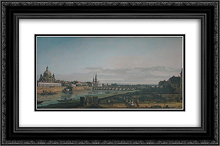 Dresden seen from right bank of the Elbe, below the Augustus Bridge 24x16 Black or Gold Ornate Framed and Double Matted Art Print by Bernardo Bellotto