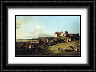 Fortress of Sonnenstein above Pirna 24x18 Black or Gold Ornate Framed and Double Matted Art Print by Bernardo Bellotto