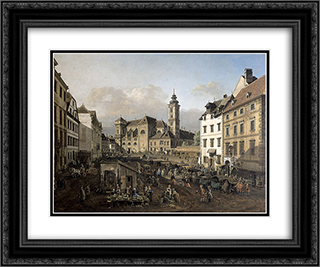 Freyung in Vienna, View from the southeast 24x20 Black or Gold Ornate Framed and Double Matted Art Print by Bernardo Bellotto