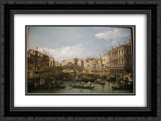 Grand canal, view from north 24x18 Black or Gold Ornate Framed and Double Matted Art Print by Bernardo Bellotto