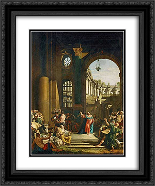 Jesus Cleansing the Temple 20x24 Black or Gold Ornate Framed and Double Matted Art Print by Bernardo Bellotto