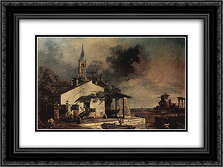 Lagoon landscape 24x18 Black or Gold Ornate Framed and Double Matted Art Print by Bernardo Bellotto