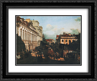 Miodowa Street 24x20 Black or Gold Ornate Framed and Double Matted Art Print by Bernardo Bellotto