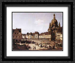 New Market Square in Dresden 24x20 Black or Gold Ornate Framed and Double Matted Art Print by Bernardo Bellotto