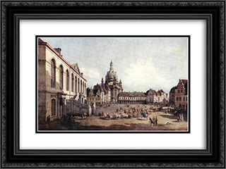 New Market Square in Dresden from the Judenhof 24x18 Black or Gold Ornate Framed and Double Matted Art Print by Bernardo Bellotto