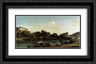 Pirna Seen from the Harbour Town 24x16 Black or Gold Ornate Framed and Double Matted Art Print by Bernardo Bellotto